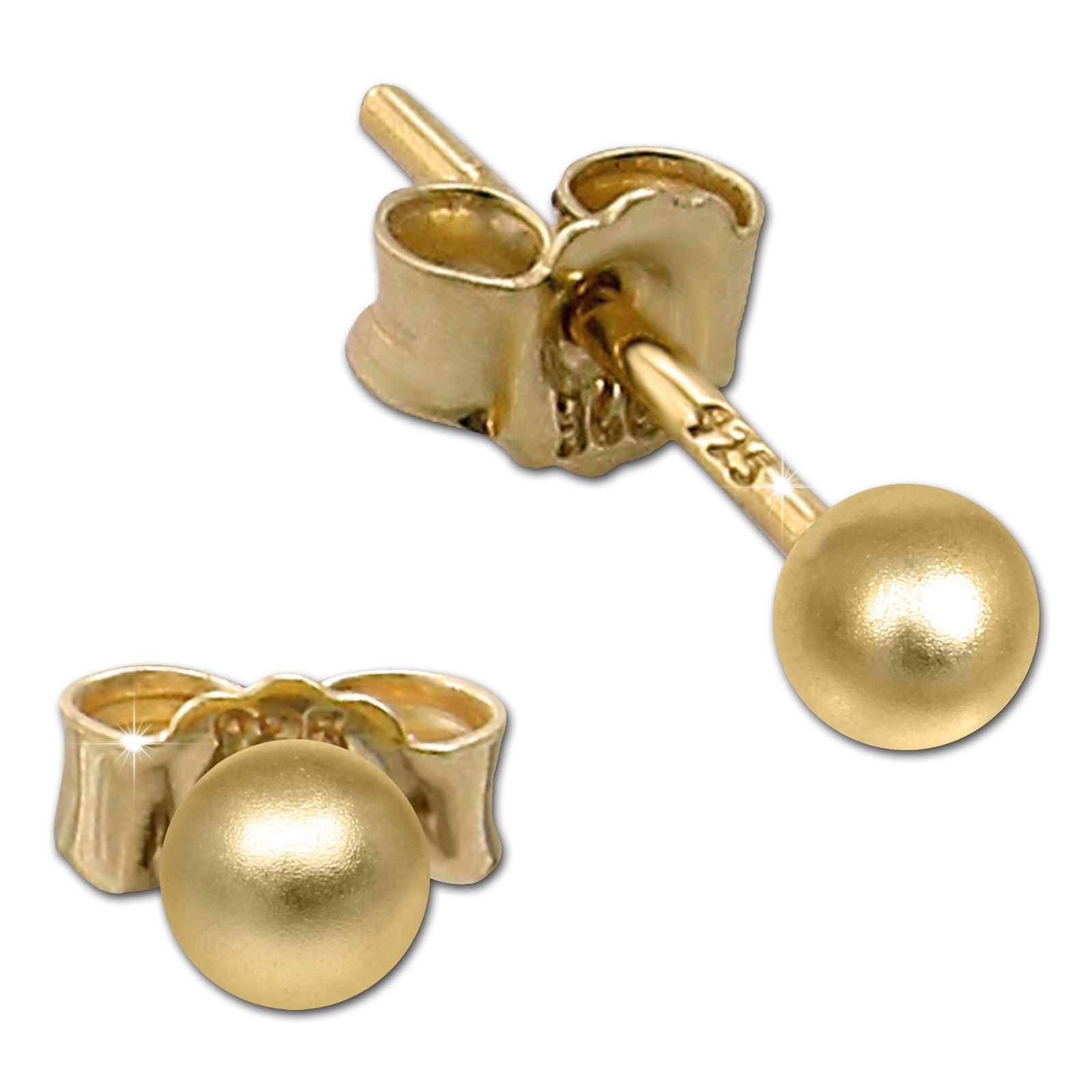 SilberDream Ohrringe Kugel matt 925 Silber vergoldet Ohrstecker SDO597Y3M