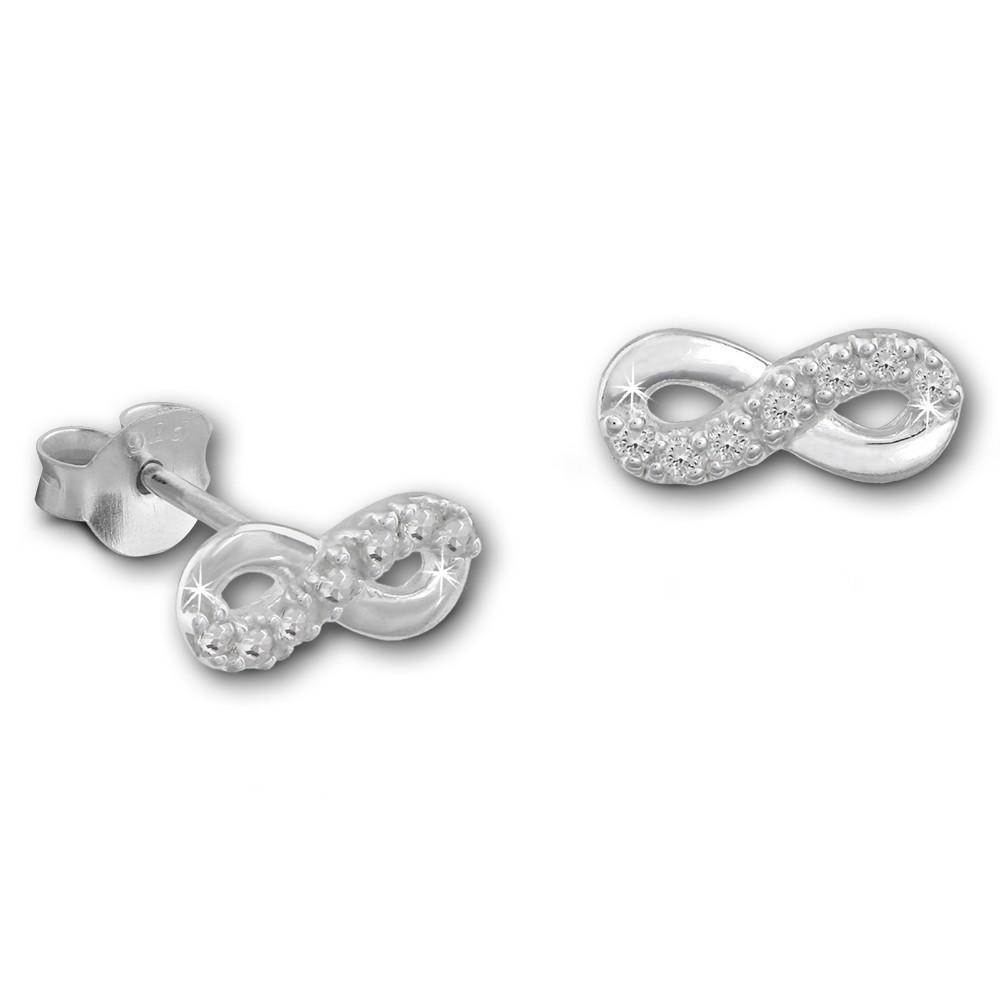 SilberDream Ohrstecker Unendlichkeit Zirkonia weiß 925er Silber Ohrring SDO8029W