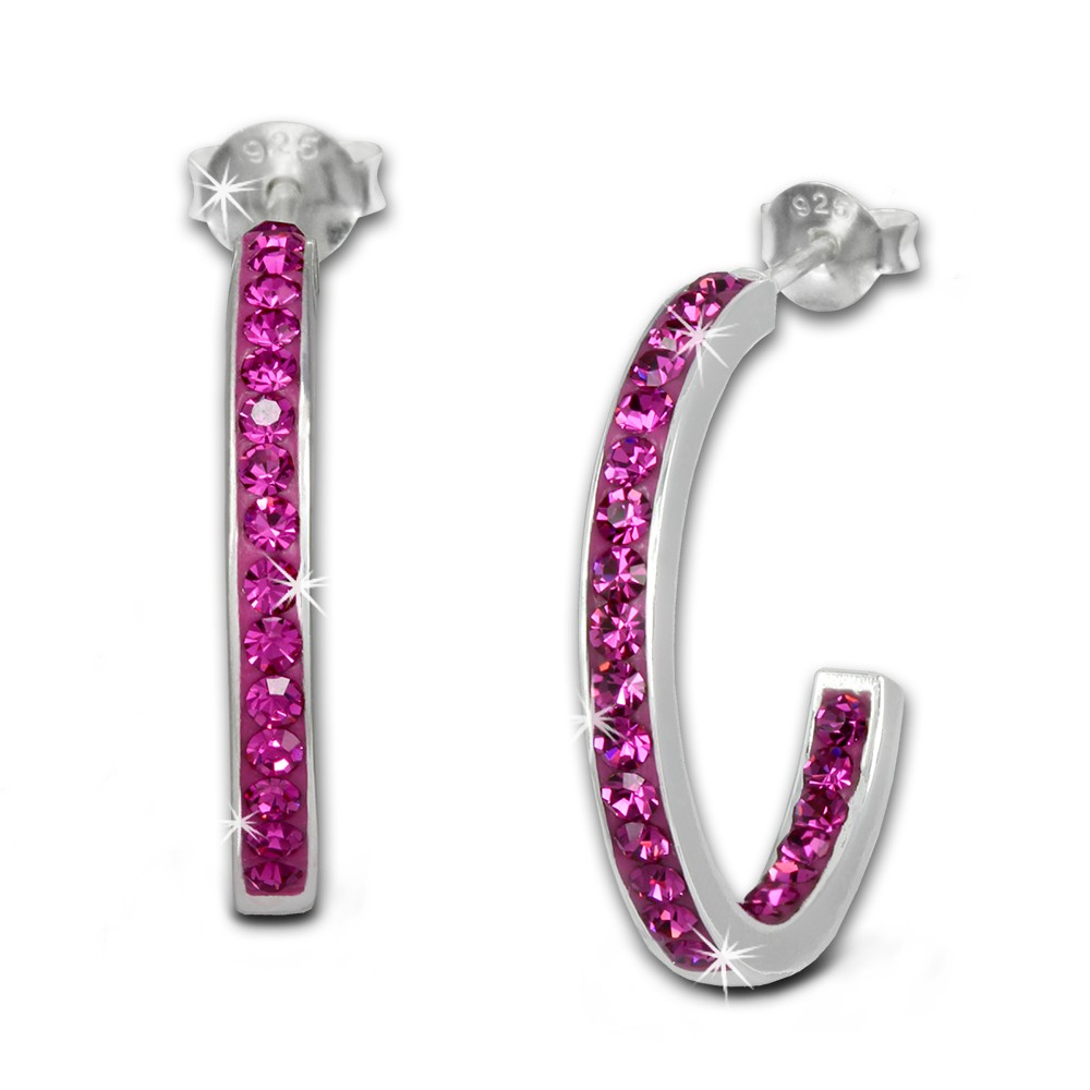 SilberDream Ohrringe Glitzer Creole pink Zirkonia 925 Silber SDO8701P