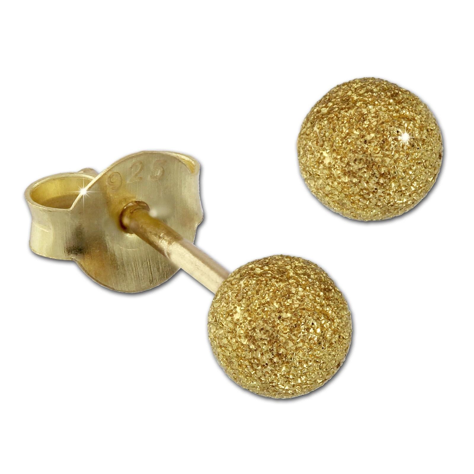 SilberDream Ohrstecker vergoldet Kugel 3mm diamantiert 925er Ohrring SDO9513Y