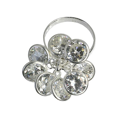 SilberDream Ring Gr.16 Blume 925 Silber Zirkonia SDR001W6