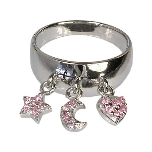 SilberDream Ring Gr.16 Dangle 925 Silber Trio pink SDR003P6