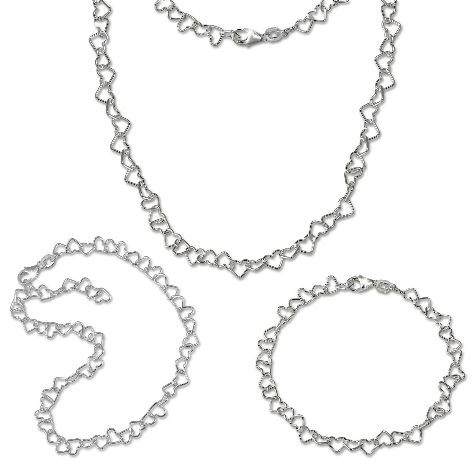 SilberDream Schmuckset Herz Fußkette & Kette & Armband 925 Silber SDS2204J