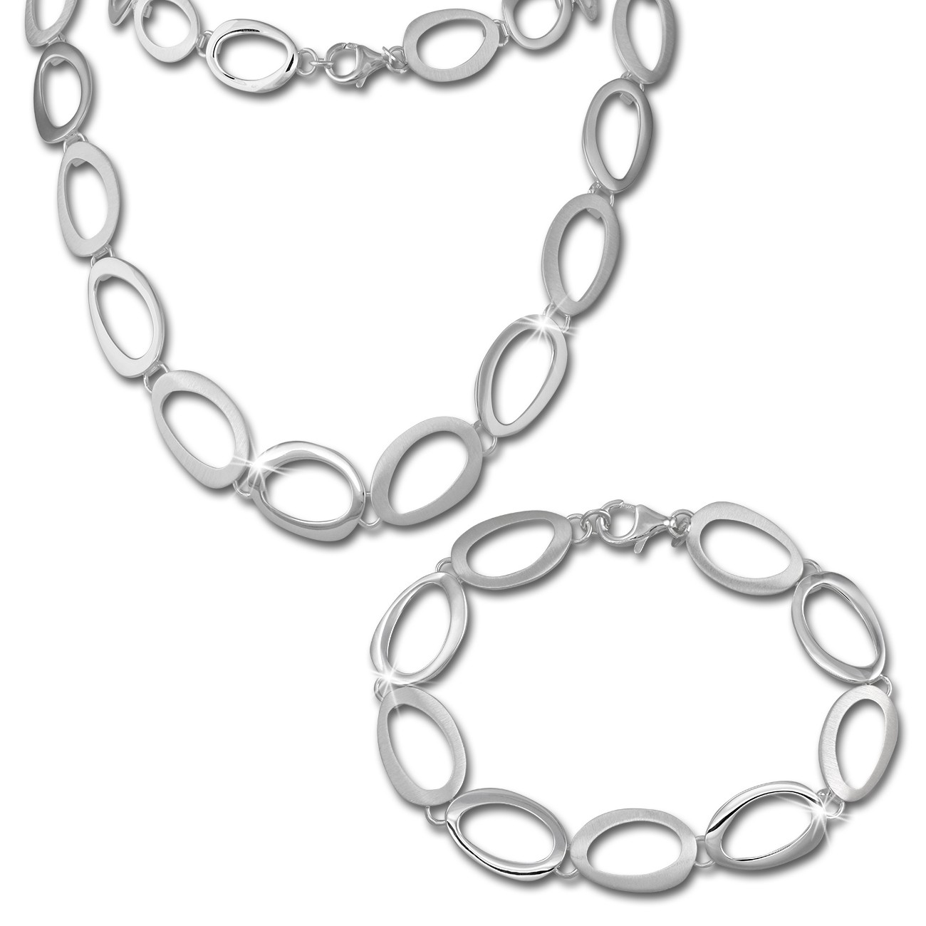 SilberDream Schmuck Set Oval offen Collier & Armband Damen 925 Silber SDS433
