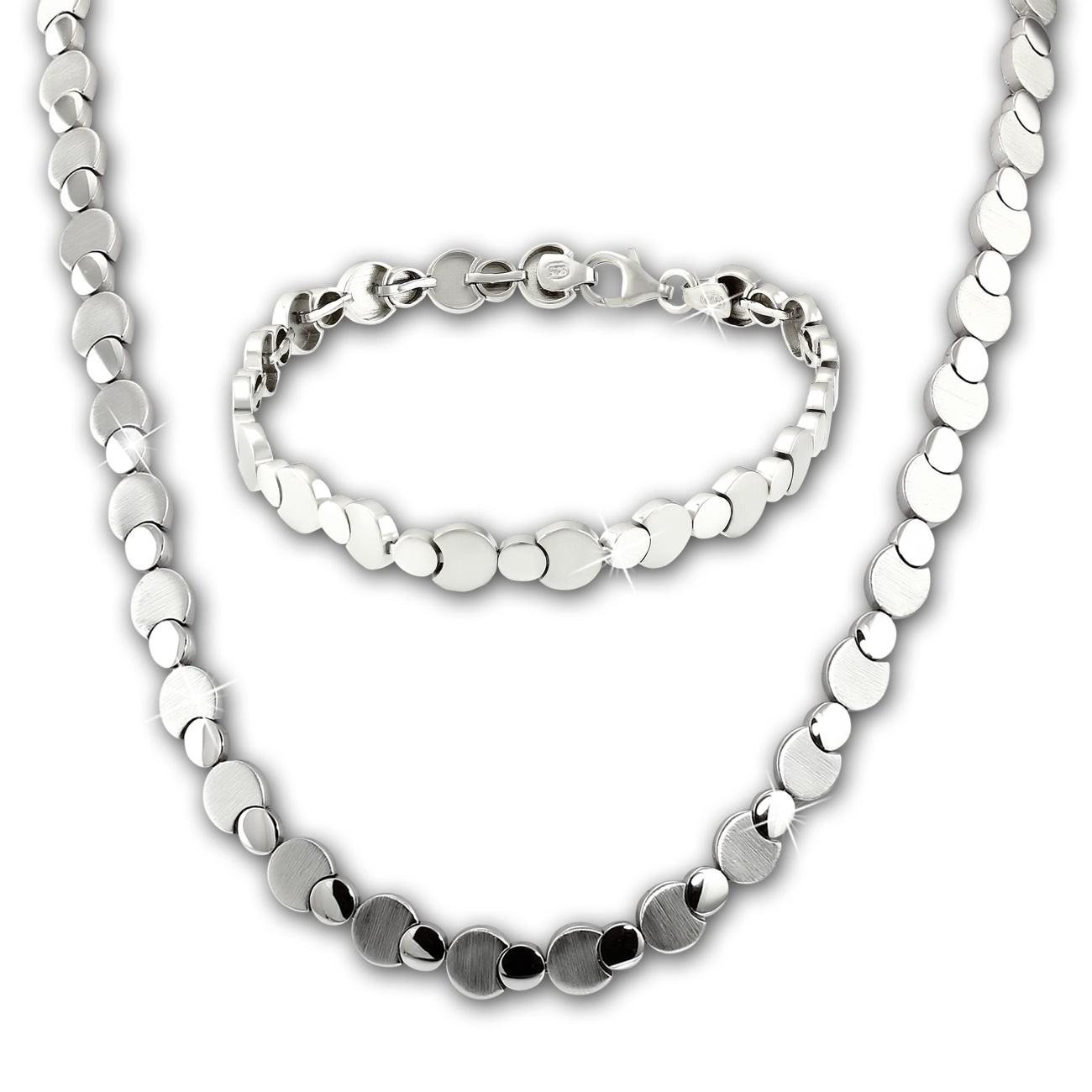 SilberDream Schmuck Set Circles Collier & Armband Damen 925 Silber SDS474J