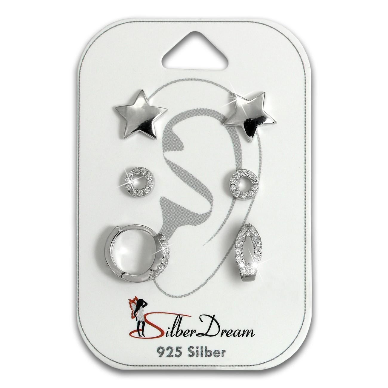 SilberDream Ohrringe 3er Set Stern, Kreis, Creole Zirkonia 925er SDS620WJ