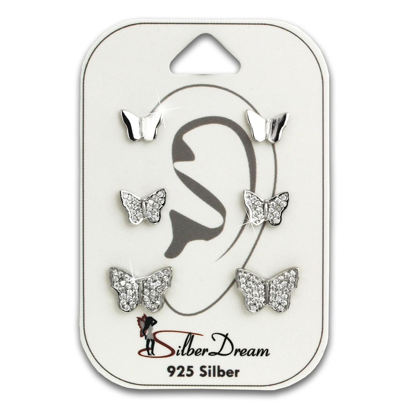 SilberDream Ohrstecker 3er Set Schmetterlinge Zirkonia 925er Ohrring SDS622WJ
