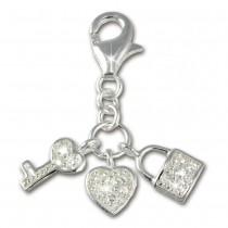 SilberDream 925 Charm Herz Schlüssel Armband Anhänger FC224W