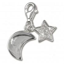 SilberDream 925 Charm Mond+Sterne Armband Anhänger FC228W