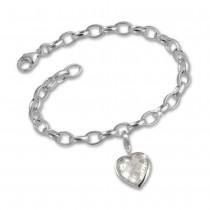SilberDream 925 Charms Herz weiß Silber Armband Anhänger Set FCA050