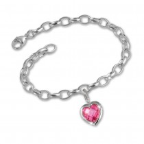 SilberDream 925 Charms Herz rosa Silber Armband Anhänger FCA052