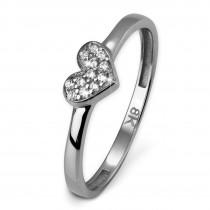 GoldDream Gold Ring Herz Zirkonia weiß Gr.58 333er Weißgold GDR503J58