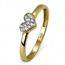 SilberDream Gold Ring Herz Zirkonia weiß Gr.56 333er Gelbgold GDR503Y56