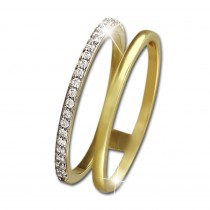 GoldDream Gold Doppel Ring Zirkonia weiß Gr.54 333er Gelbgold GDR505Y54
