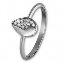 GoldDream Gold Ring Blatt Zirkonia weiß Gr.54 333er Weißgold GDR506J54
