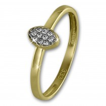 GoldDream Gold Ring Oval Zirkonia weiß Gr.54 333er Gelbgold GDR507Y54