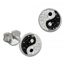 SilberDream Ohrstecker Yin Yang 925 Silber Glitzer Kristalle Ohrring GSO605S