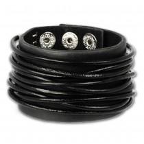 SilberDream Lederarmband schwarz Herren Leder Armband LAP010S