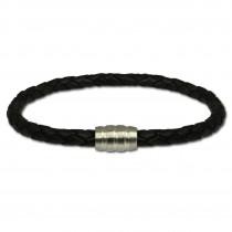 SilberDream Leder Armband schwarz mit Edelstahl Verschluss LS1502