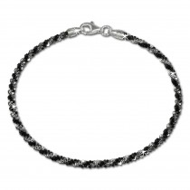 SilberDream Armband gedreht schwarz 925 Silber Damen SDA2039S