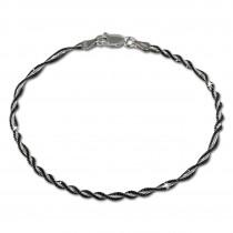 SilberDream Armband Fantasie gedreht schwarz 925 Silber Damen SDA2049S