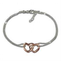 SilberDream Armband Doppelherz Rose vergoldet 925er Silber Damen 18cm SDA2158T