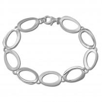 SilberDream Armband Oval offen matt/glänzend 925 Sterling Silber 19,5cm SDA433