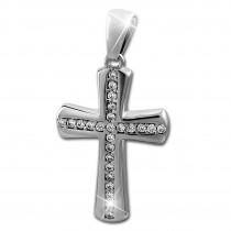 SilberDream Ketten Anhänger Großes Kreuz Zirkonia weiß 925 Silber SDH425W