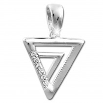 SilberDream Ketten Anhänger Dreiecke Zirkonia weiß 925 Silber SDH430W