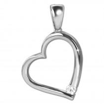 SilberDream Ketten Anhänger -Herz- Zirkonia weiß 925 Silber SDH4381W