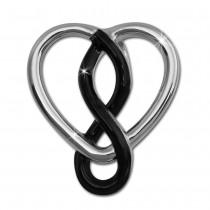SilberDream Kettenanhänger Herz schwarz 925 Silber Damen Anhänger SDH452S