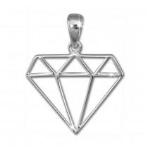 SilberDream Kettenanhänger Diamant Form Anhänger für Damen 925er Silber SDH8200J