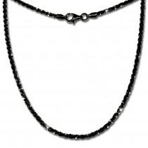 SilberDream Collier Kette gedreht schwarz 925 Silber Damen 45cm SDK21845S