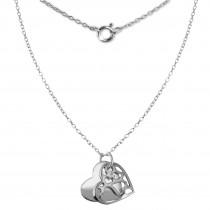 SilberDream Kette Doppel Herz 925 Sterling Silber 45cm SDK8007J