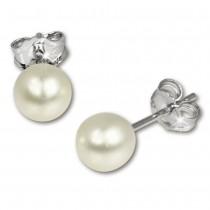 SilberDream Ohrstecker Süßwasser Perle weiß 6mm 925 Silber SDO106W