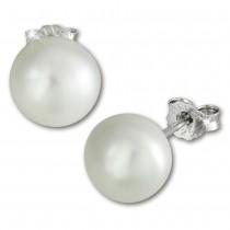 SilberDream Ohrstecker Süßwasser Perle weiß 9mm 925 Silber SDO128W