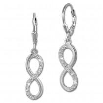 SilberDream Ohrhänger Unendlich Zirkonia weiß 925 Silber Ohrring SDO357M