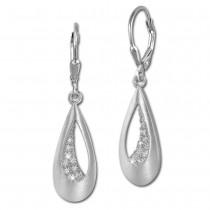 SilberDream Ohrhänger Tropfen Zirkonia weiß 925 Silber Ohrring SDO367M