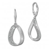 SilberDream Ohrhänger Oval Zirkonia weiß 925 Silber Damen Ohrring SDO371W