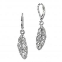 SilberDream Ohrhänger Feder Zirkonia weiß 925 Silber Ohrring SDO4289W