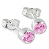 SilberDream Ohrringe Zirkonia pink 925 Silber Ohrstecker SDO503P
