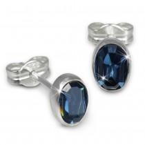 SilberDream Ohrringe Zirkonia oval dunkelblau 925er Ohrstecker SDO552B