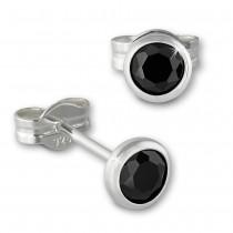 SilberDream Ohrringe Zirkonia schwarz 4mm 925 Silber Ohrstecker SDO5534S