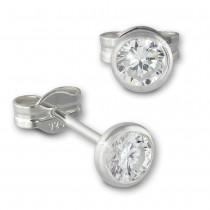 SilberDream Ohrringe Zirkonia weiß 4mm 925 Silber Ohrstecker SDO5534W