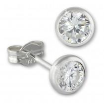 SilberDream Ohrringe Zirkonia weiß 5mm 925 Silber Ohrstecker SDO5535W