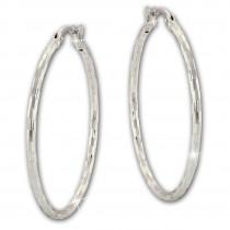 SilberDream Creole Diamantschliff 6cm 925 Sterling Silber Damen Ohrring SDO67366