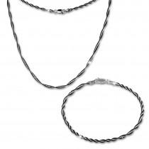 SilberDream Schmuckset Fantasie schwarz Kette & Armband 925 Silber SDS204S