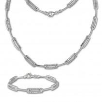 SilberDream Schmuck Set diamantiert Collier & Armband Damen 925 Silber SDS442J