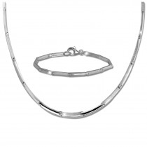 SilberDream Schmuck Set Line Collier & Armband Damen 925 Silber SDS452J