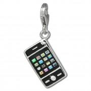 SilberDream Charm Smartphone Handy schwarz 925 Armband Anhänger FC821S